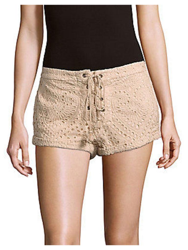 Santa Fe Lace-Up Cotton & Silk-Blend Shorts
