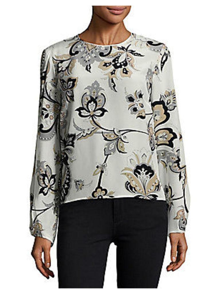 Floral-Printed Long-Sleeve Blouse