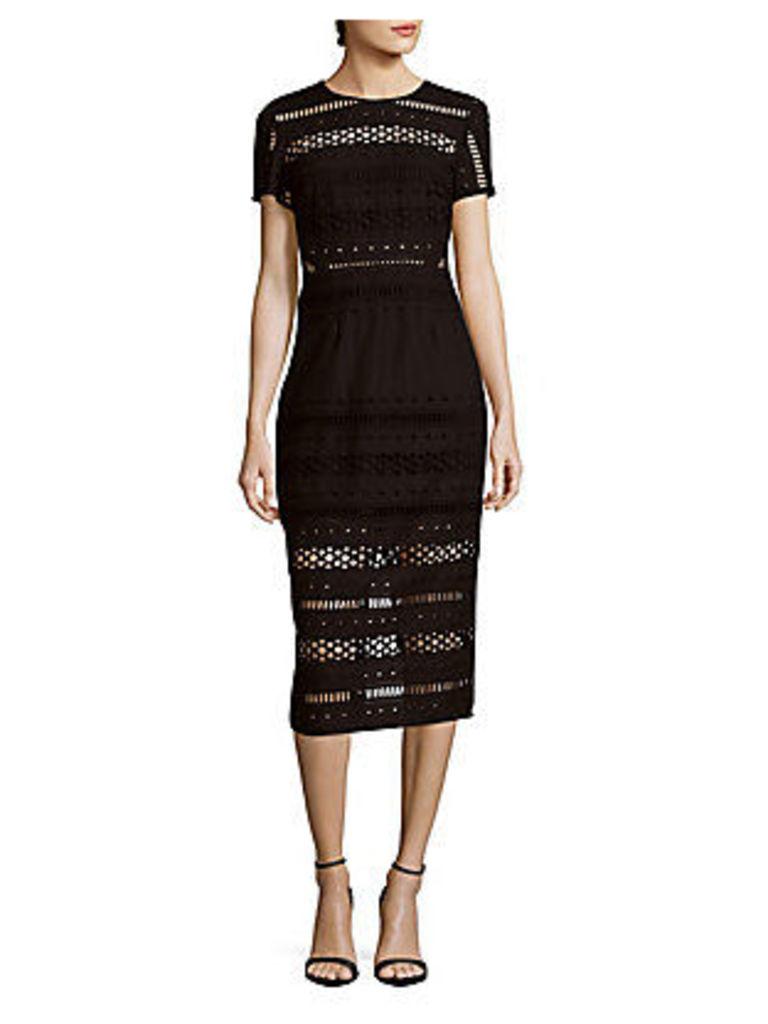 Crewneck Short-Sleeve Cutout Dress