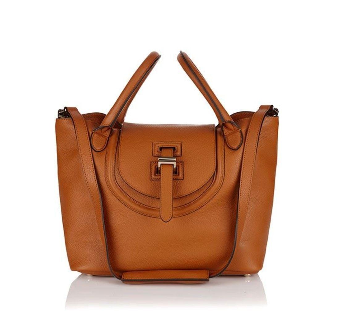 Halo Medium Tote Bag Tan Reverse Handles