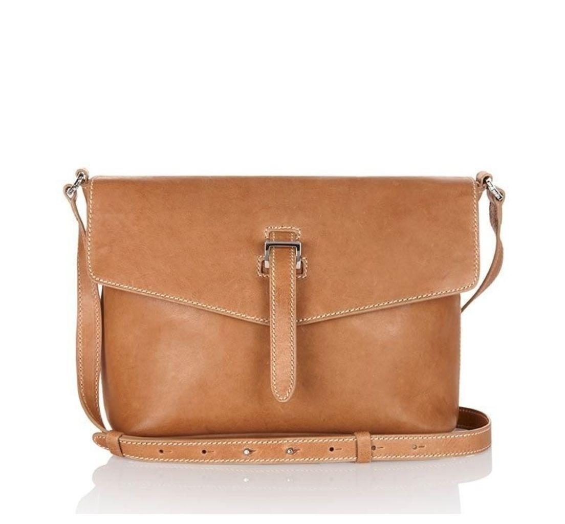 Maisie Medium Cross Body Bag Light Tan Cream Stitching