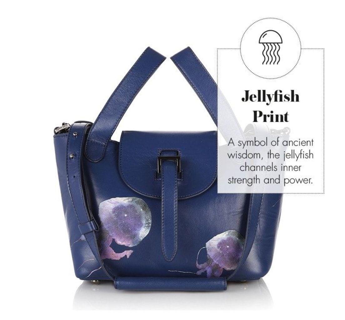 Thela Mini Cross Body Bag Midnight Blue Jellyfish Print
