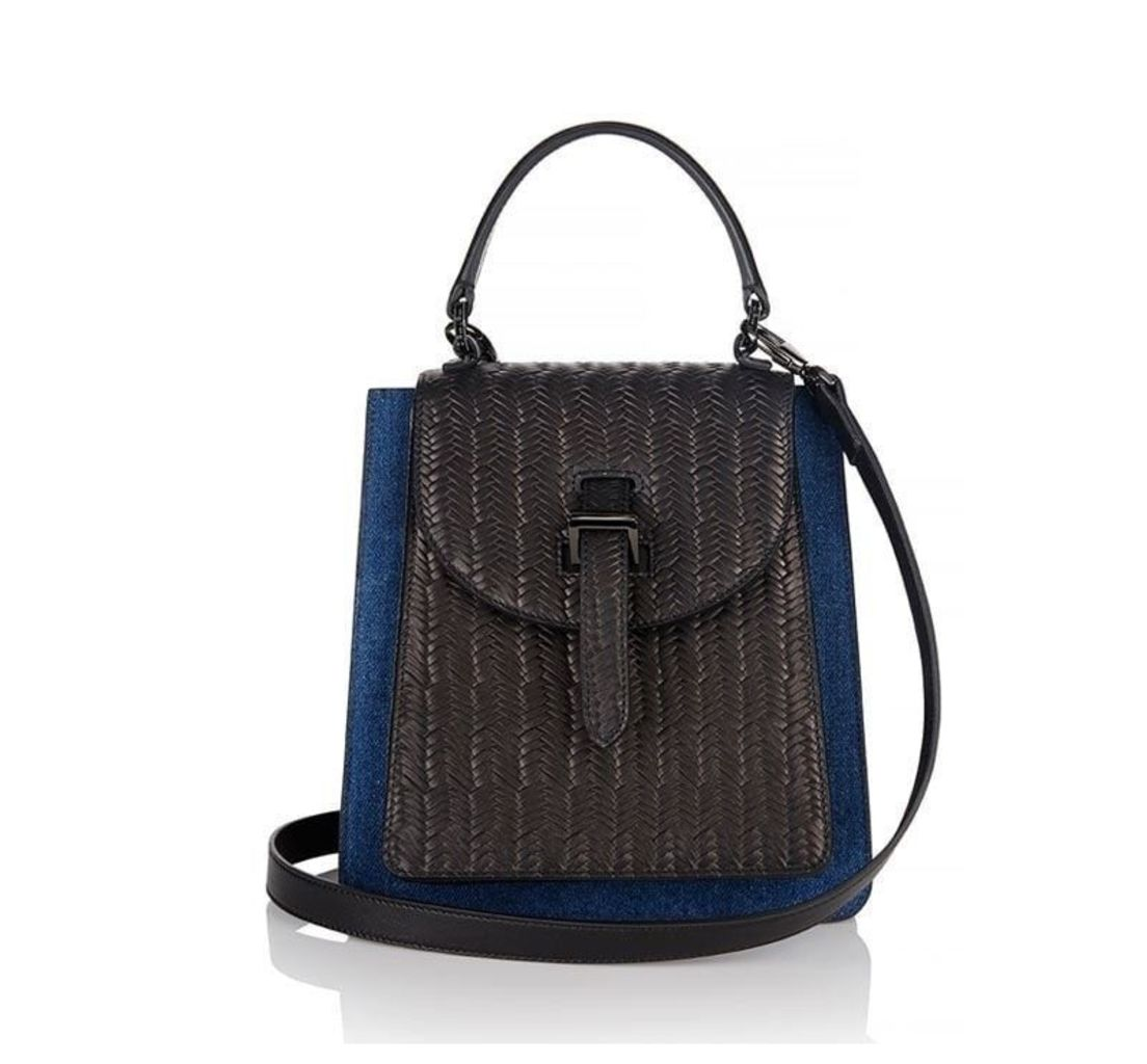 Floriana Mini Cross Body Bag Denim and Black Woven