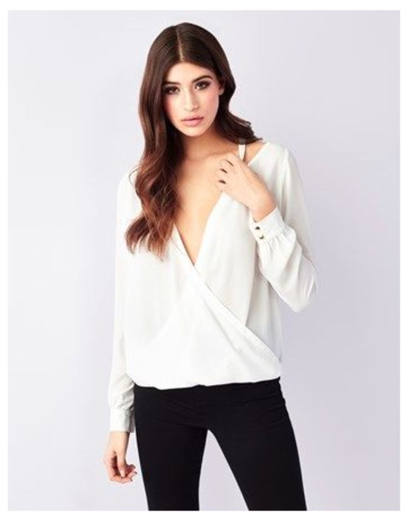 Lipsy Cold Shoulder Wrap Blouse