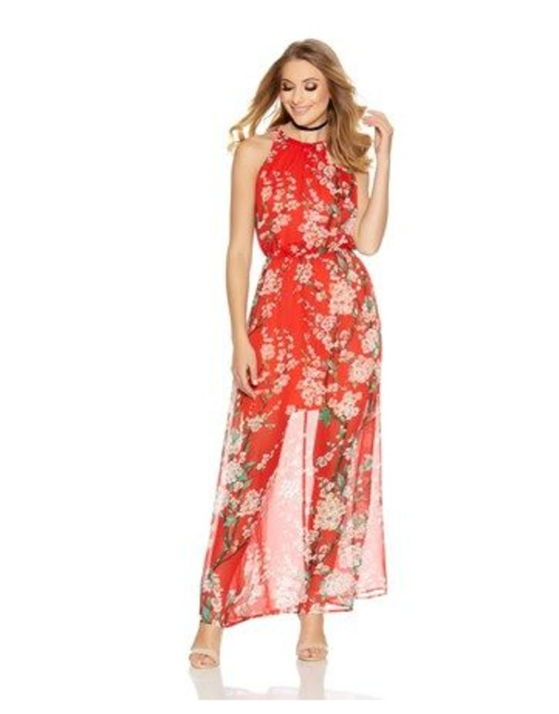 Quiz Floral Print Chiffon Maxi Dress