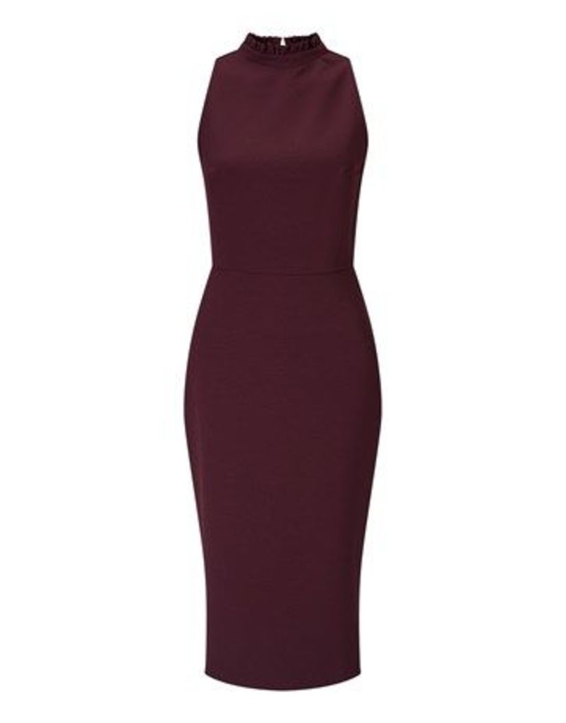 Alter High Neck Frill Pencil Dress