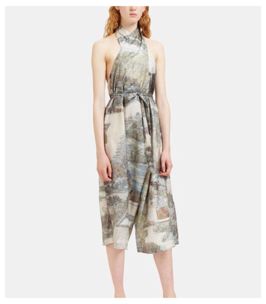 Metallic Printed Silk Halterneck Overalls