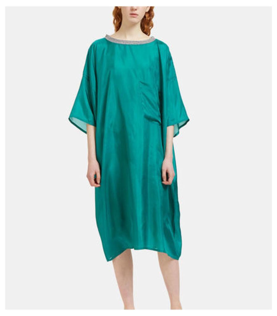 Oversized Patch Pocket Silk T-Shirt Dress
