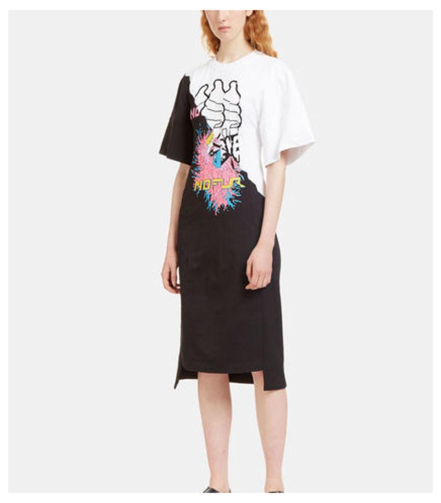 Stitched Printed Panel Jersey Dress