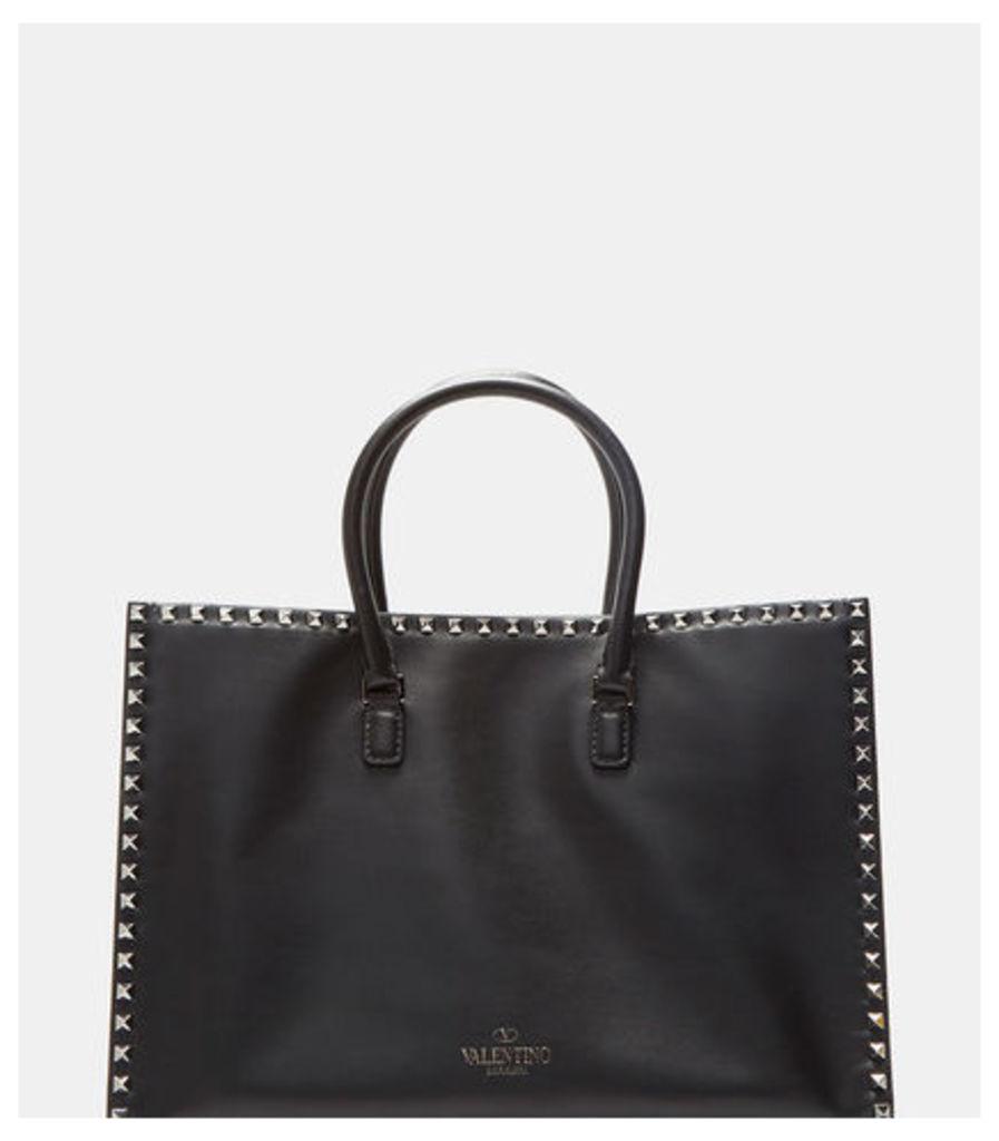 Women's Double Handle Rockstud Handbag in Black