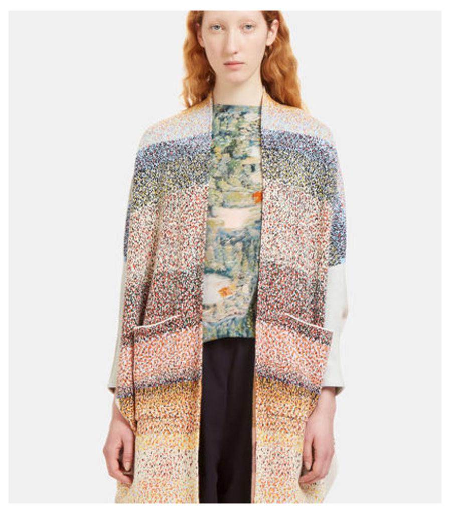 Flecked Intarsia Knit Cardigan