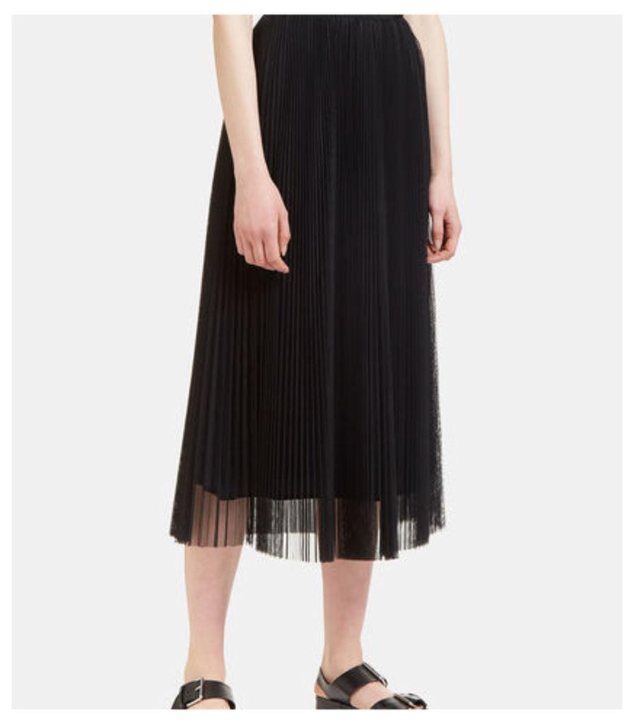 Long Pleated Tulle Skirt
