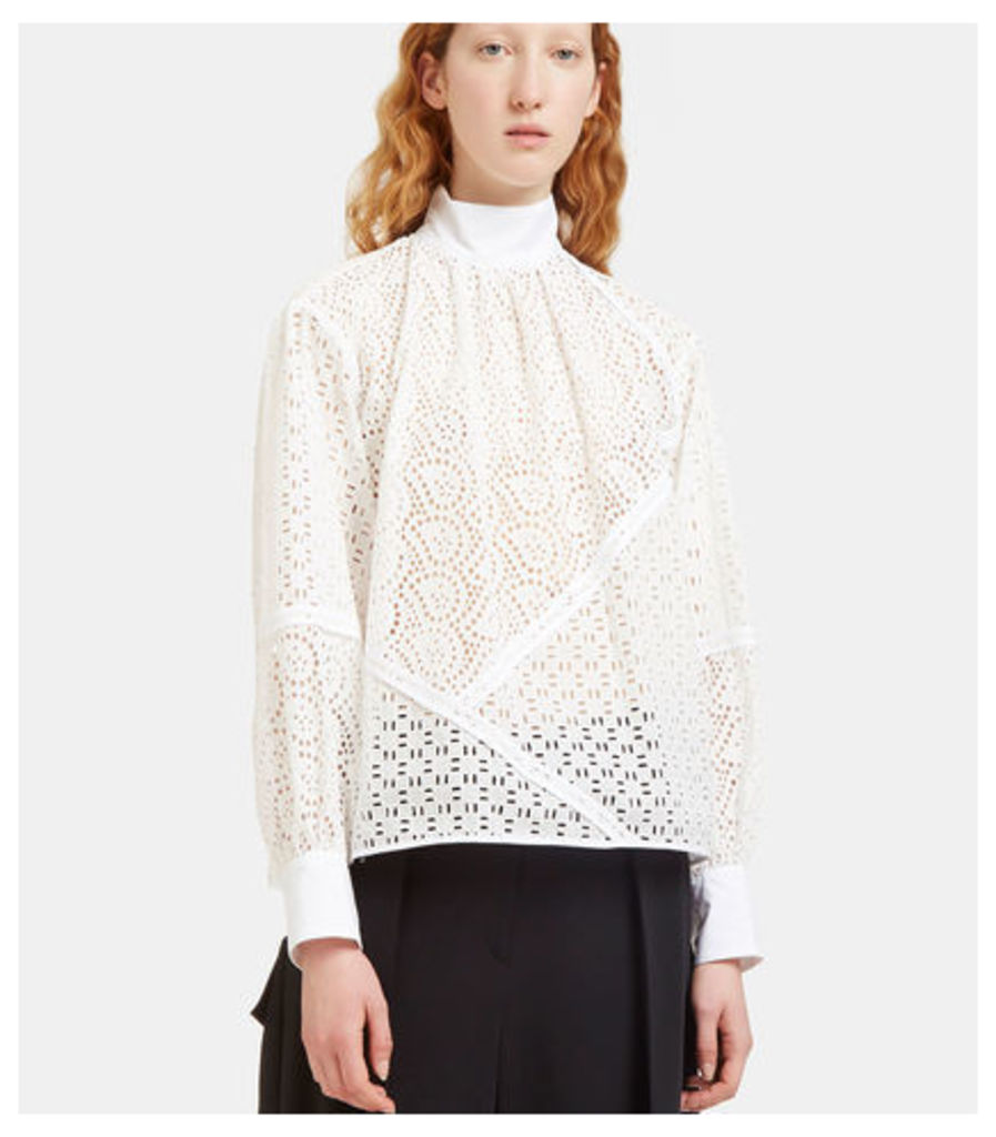 Laser-Cut Broderie Anglaise Blouse