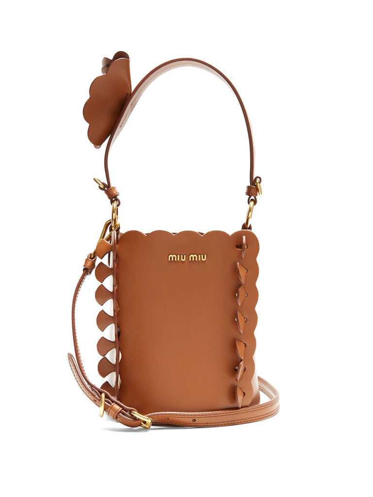 Flower-embellished leather bucket bag
