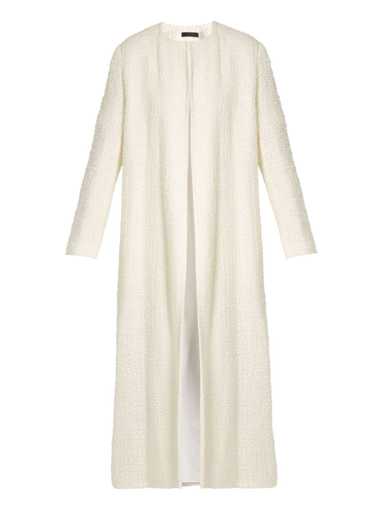 Pamie linen-blend bouclé collarless coat