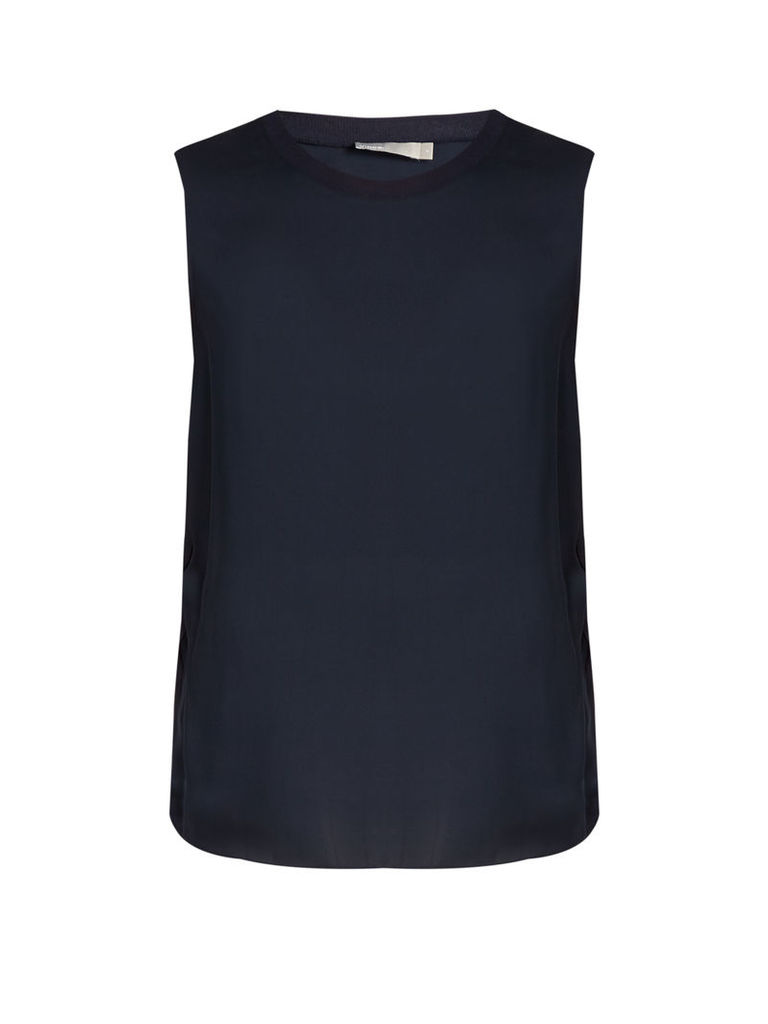 Sleeveless silk tank top