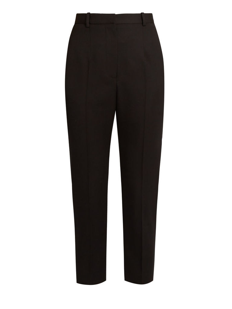 High-rise slim-leg grain de poudre wool trousers
