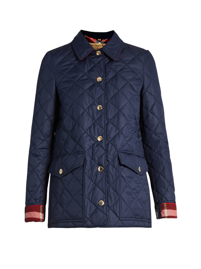 Westbridge check-collar quilted jacket