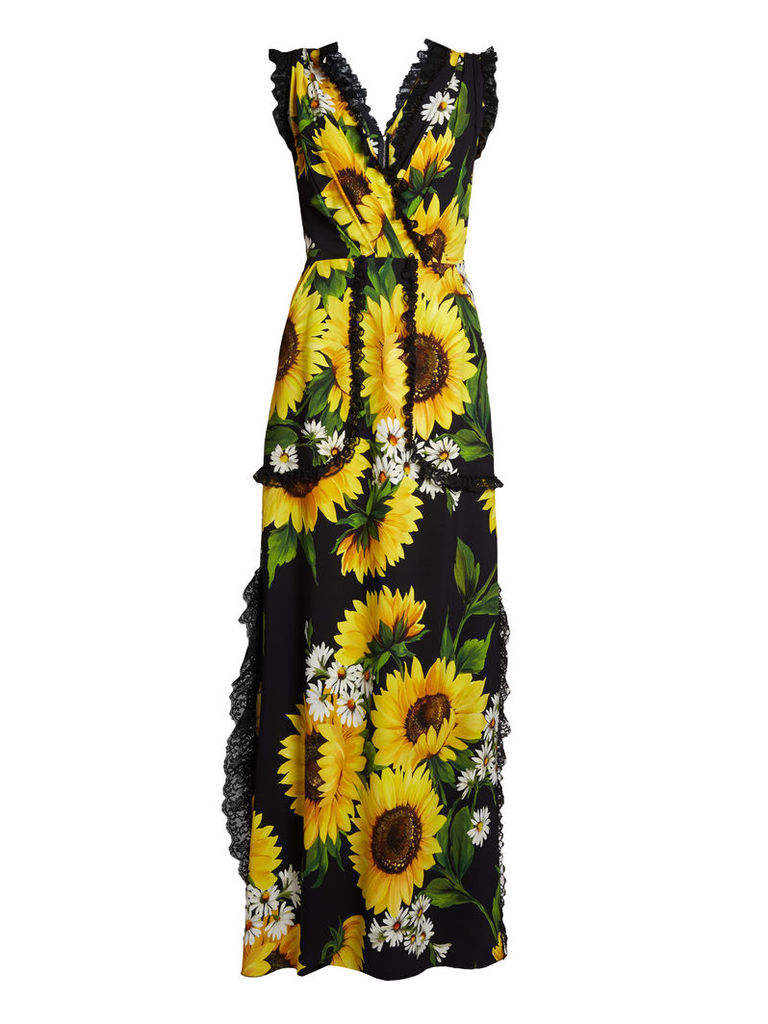 Sunflower-print cady gown
