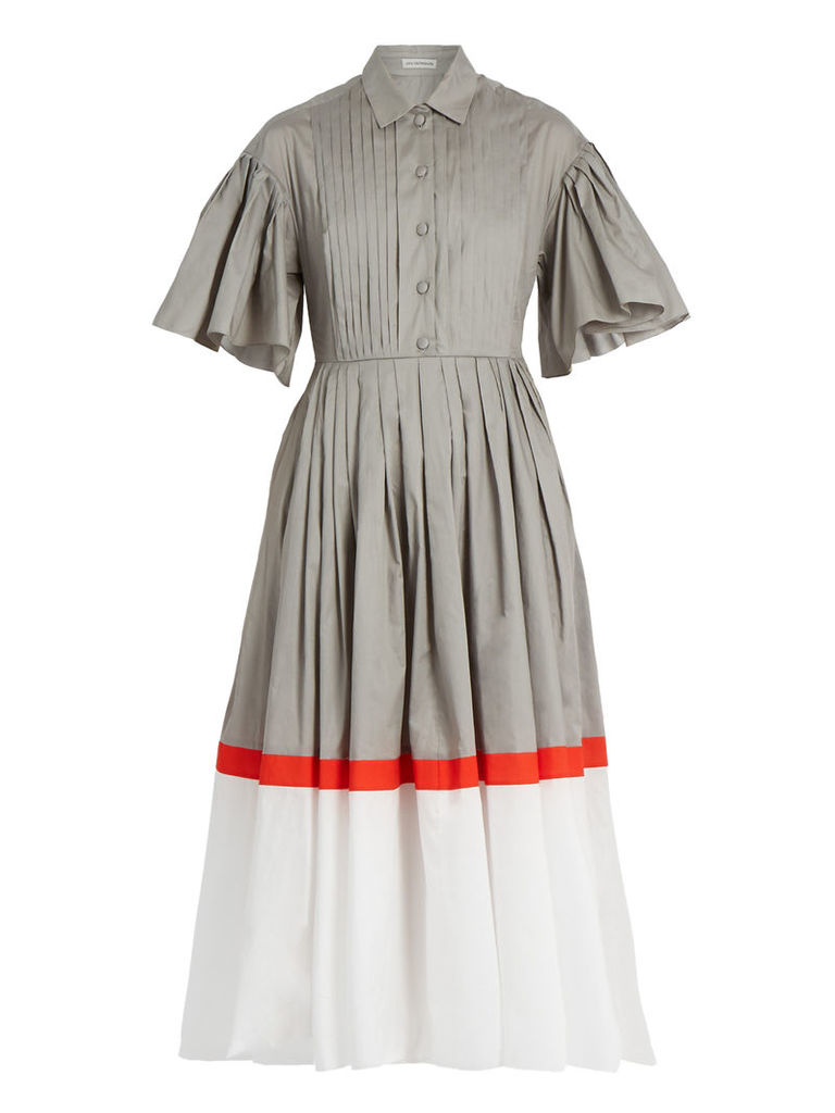 Tri-colour cotton-poplin dress