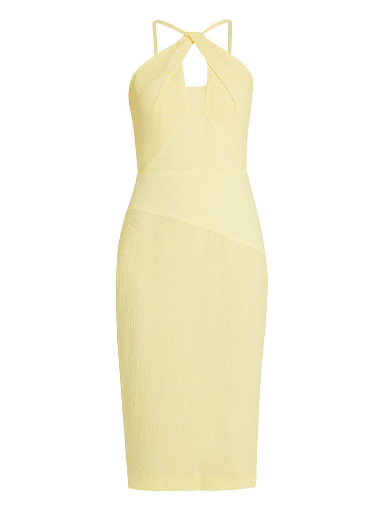 Mervyn chevron-embroidered crinkled-crepe dress