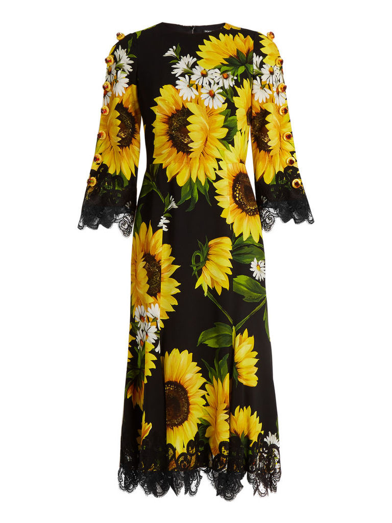 Sunflower-print cady midi dress