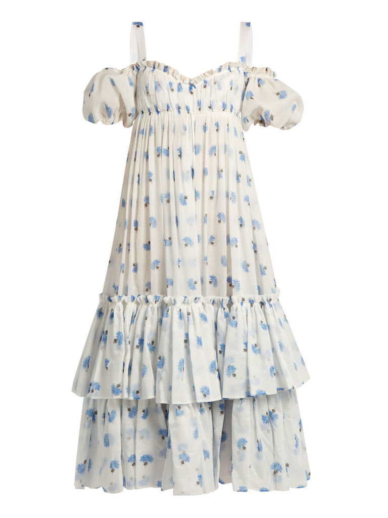 Thistle-print cotton-voile dress