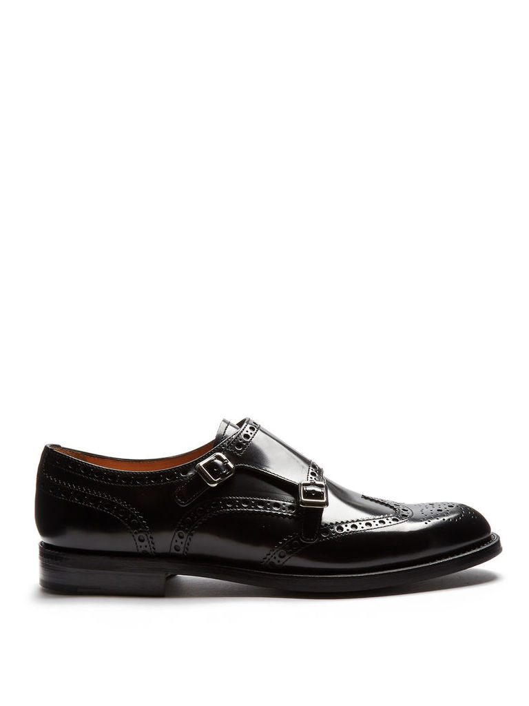 Lana leather monk-strap shoes