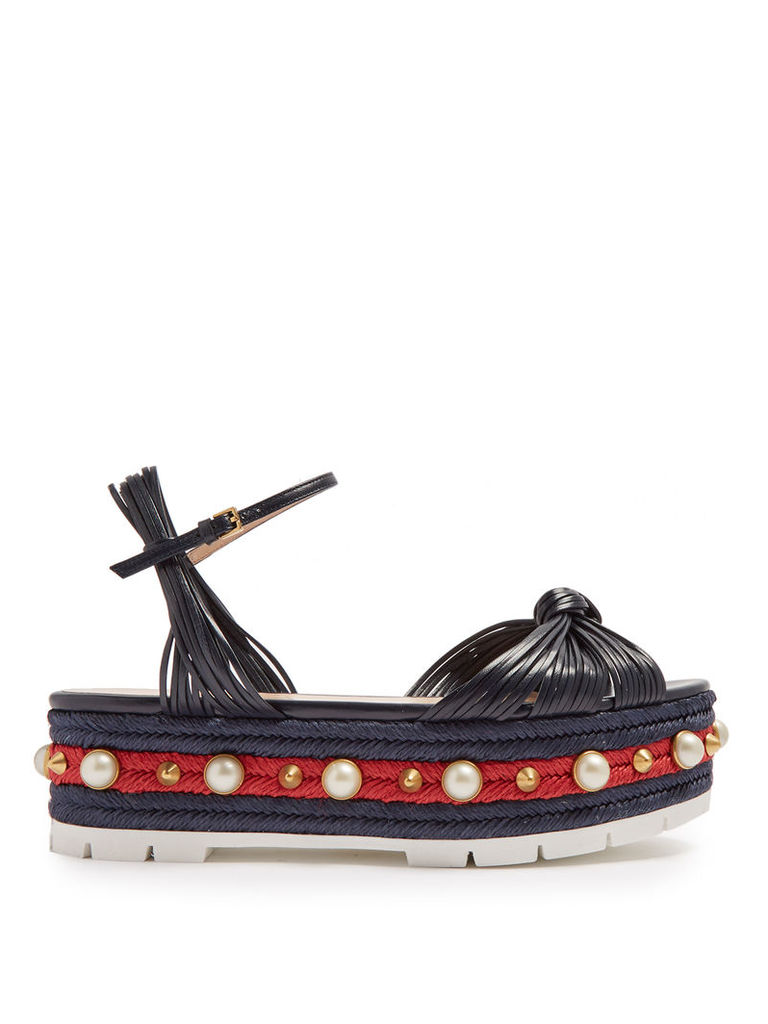 Pearl-embellished leather flatform sandals