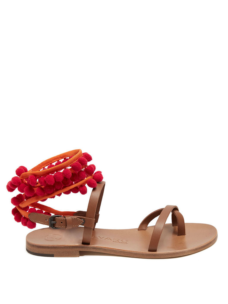 Anna pompom-embellished leather sandals