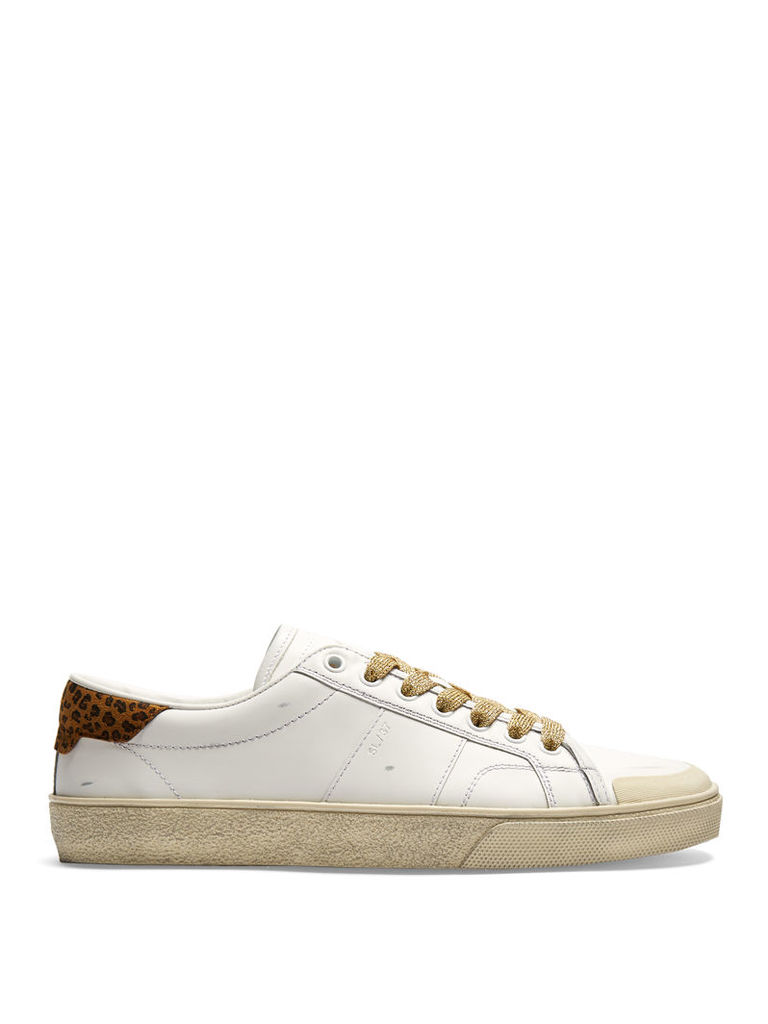Court Classic distressed leather trainers