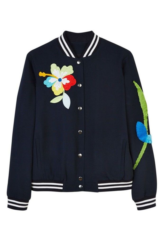 Sequin Patch and Embroidered Bomber Jacket
