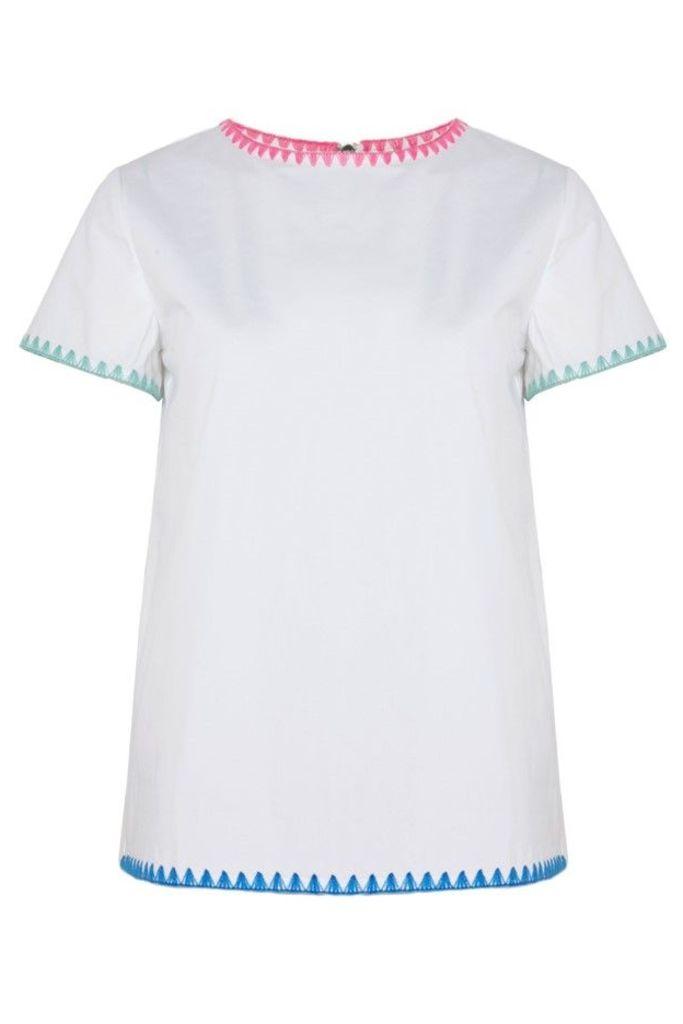 Blanket Stitch Scuba Top White