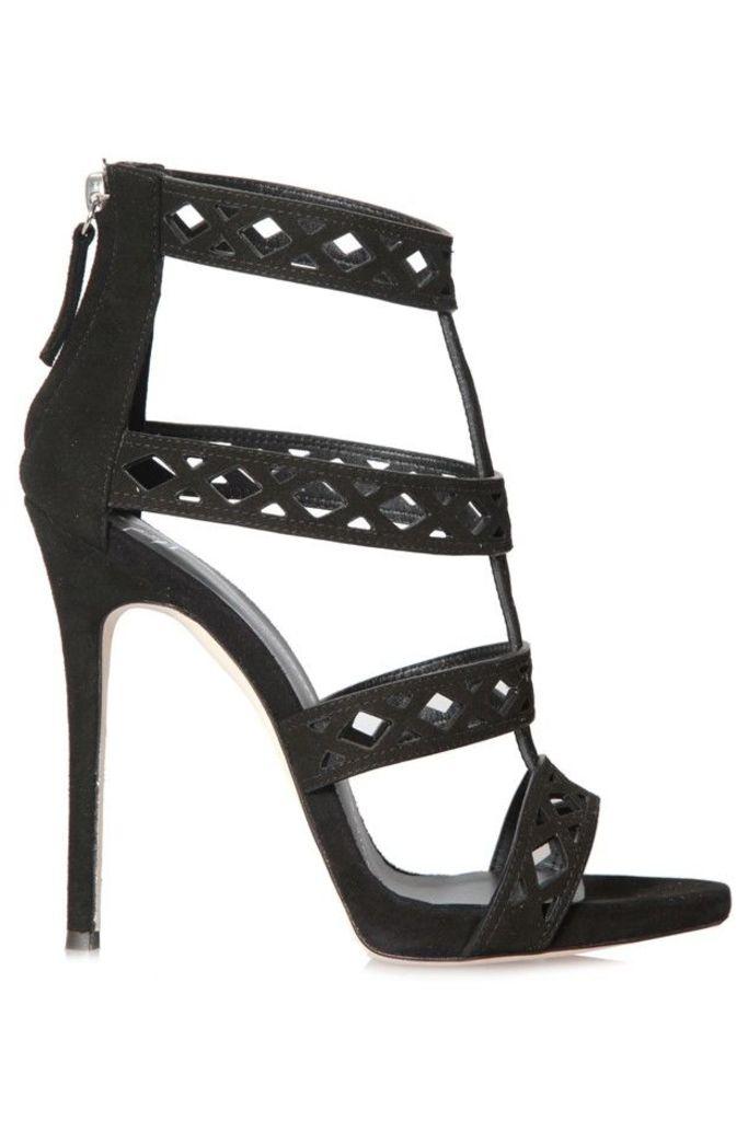 Strappy Sandals Black Suede