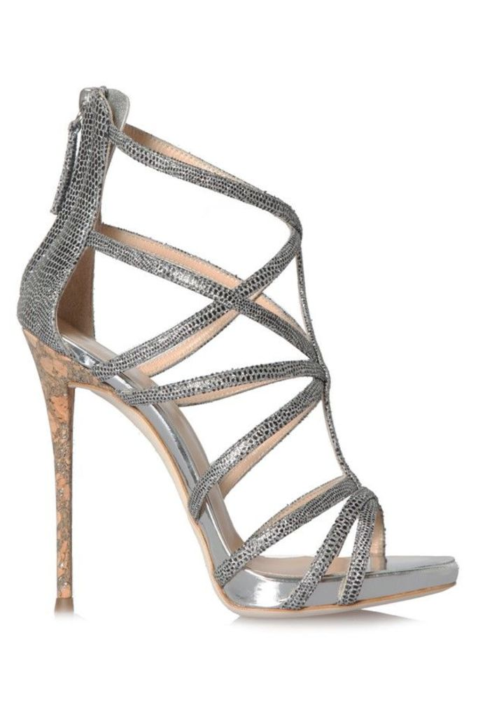 Coline Heels Black and Silver