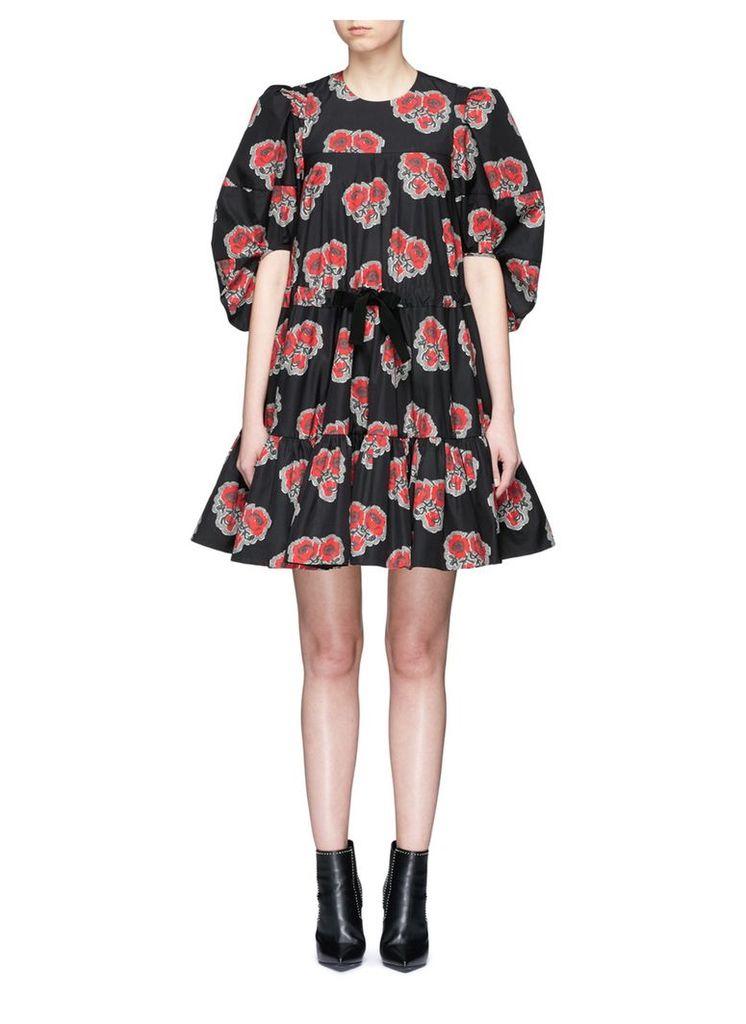 Poppy print puff sleeve ruffle dress