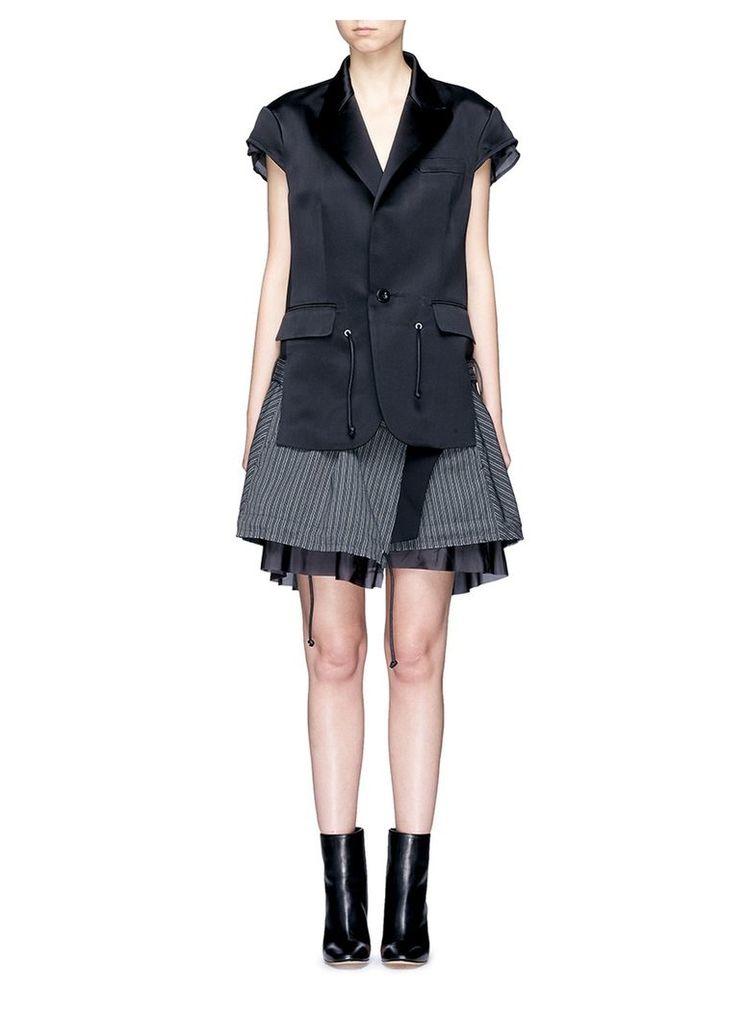 Silk satin jacket stripe skirt layered dress