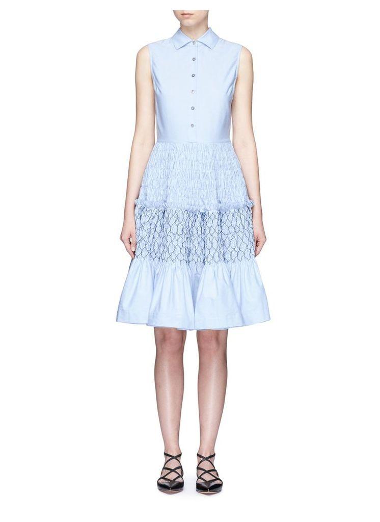 Smocked tiered Oxford sleeveless shirt dress