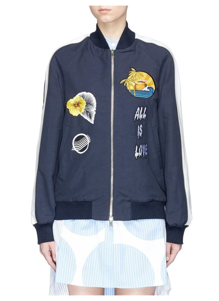 'Lorinda' embroidered patch bomber jacket