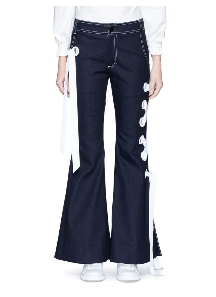 Ribbon lace-up flared denim pants
