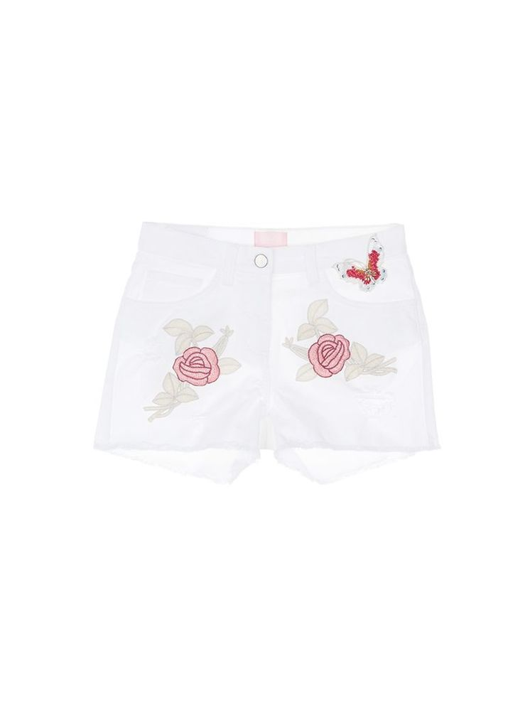 Beaded butterfly floral embroidered cutoff denim shorts