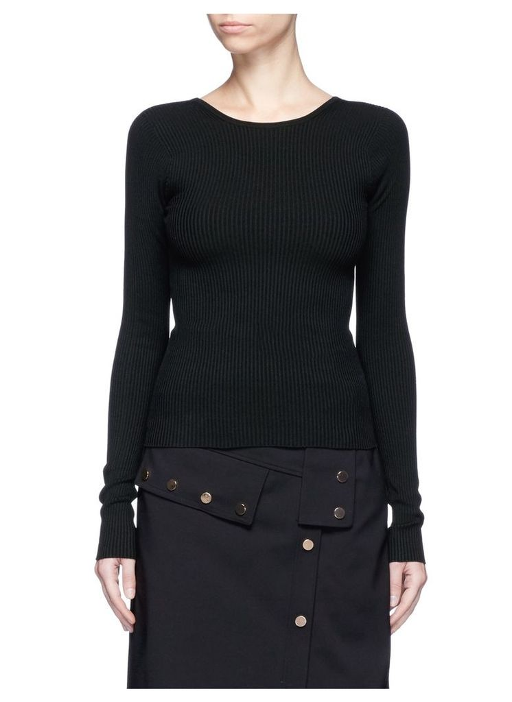 Lace-up scoop back rib knit sweater