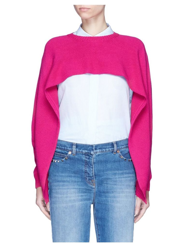 Cropped cashmere capelet sweater