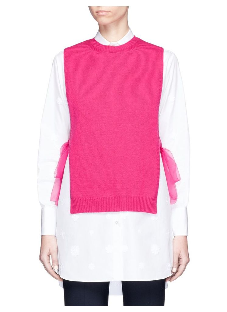 Organza ribbon cashmere knit dickie top
