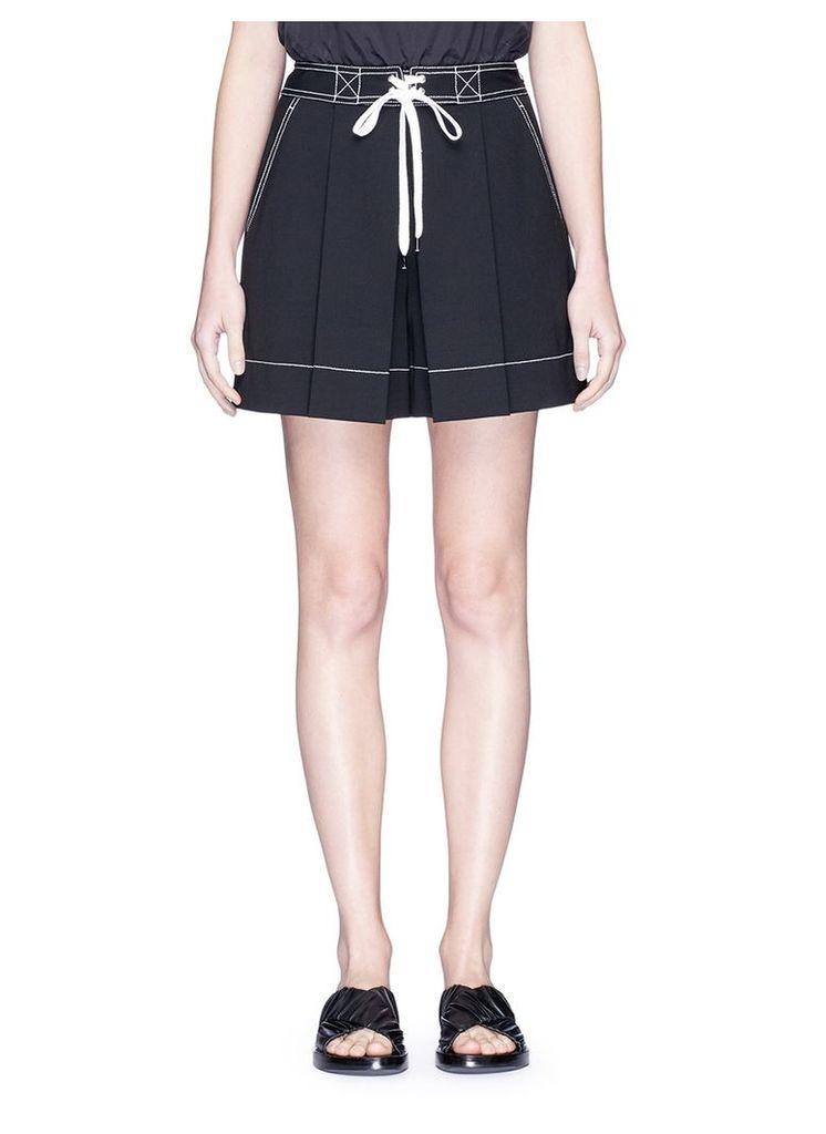 Mock drawstring pleated twill shorts