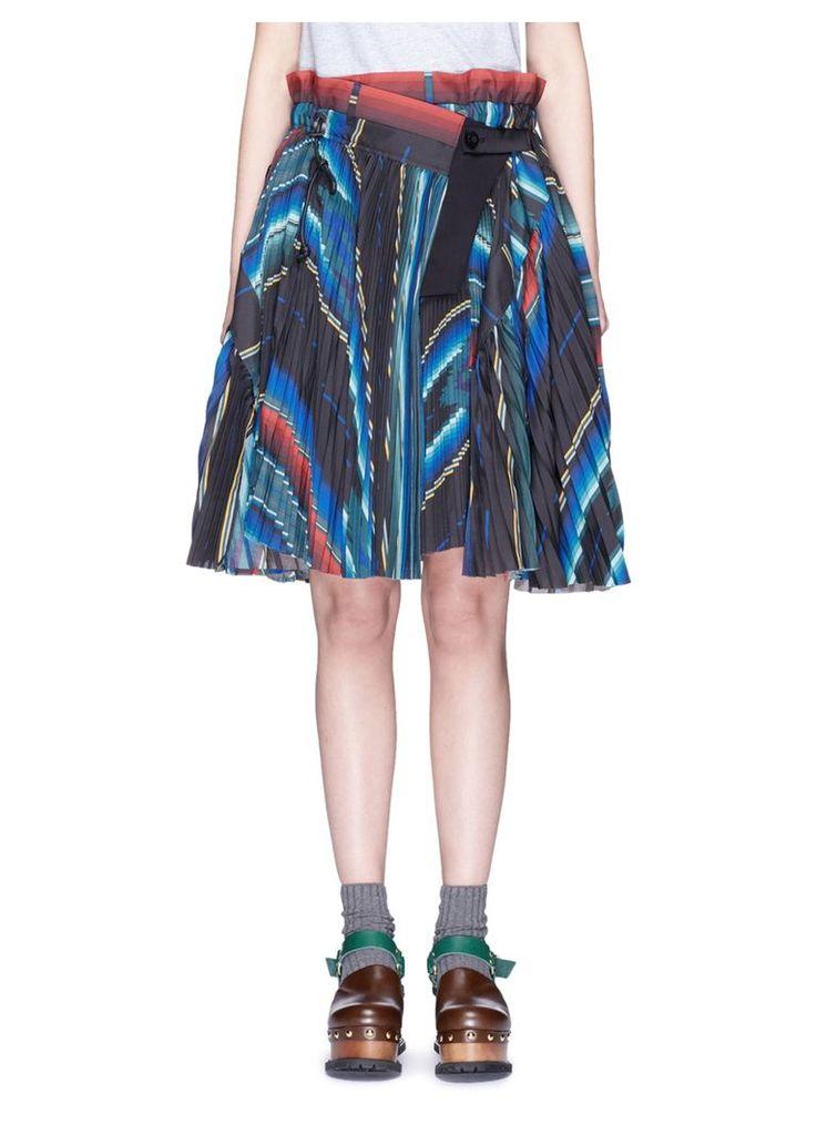 Mexican stripe print plissé pleat wrap skirt