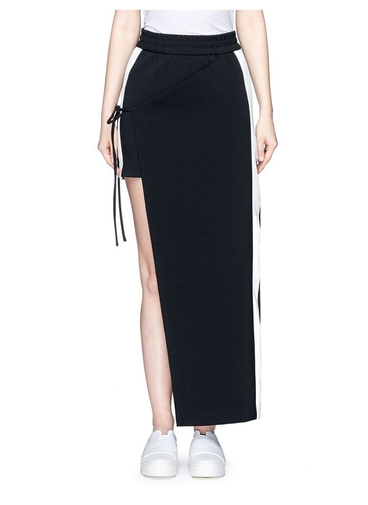 Asymmetric layered wrap front skirt