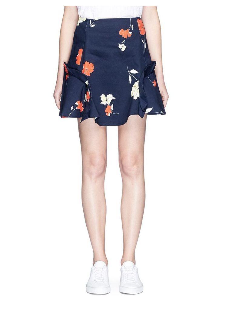 Ruffle trim floral print mini skirt