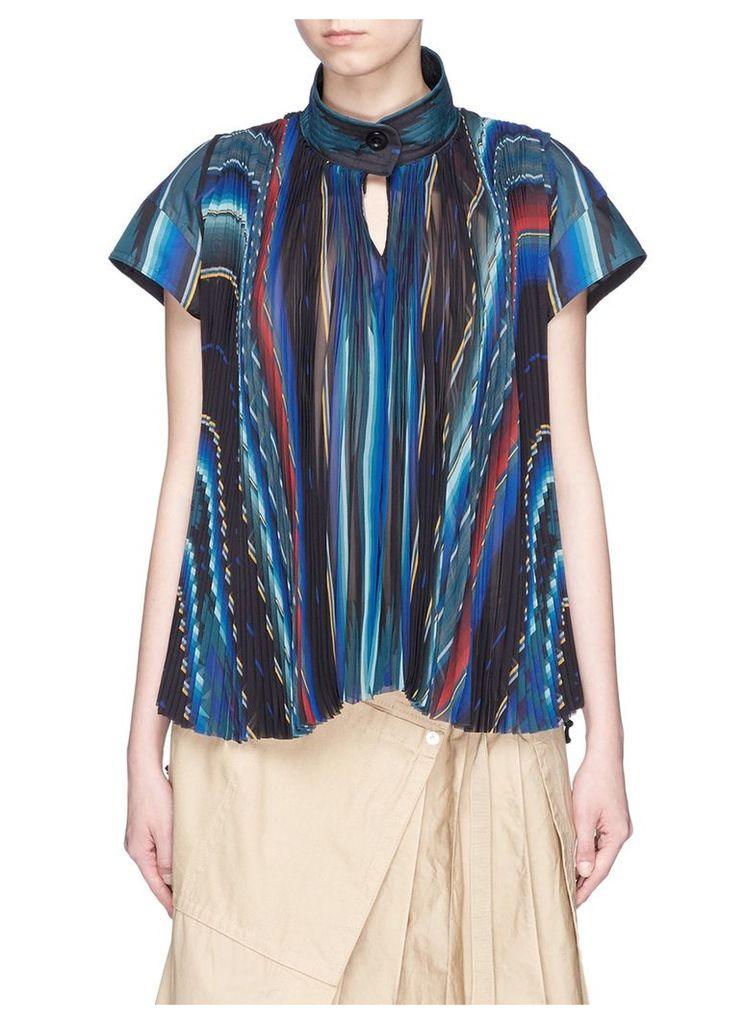 Mexican stripe print plissé pleat top