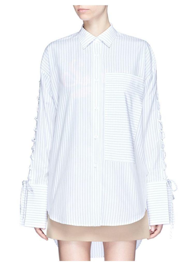 Lace-up sleeve stripe oversized shirt